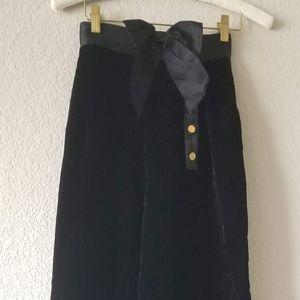 CHANEL BLACK VELVET HIGH WAIST PANT 36
